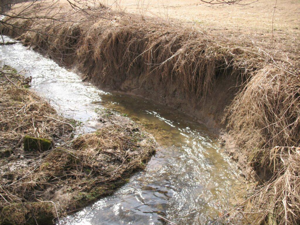 Důsledky vyšší energie toku jeho napřímením - dnová a boční eroze (foto J. Malík, jaro 2010)