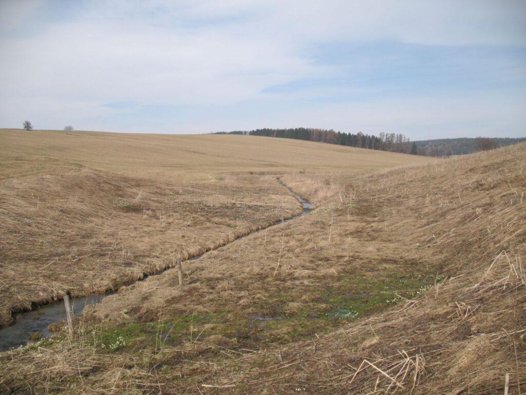 Doklad již opuštěného přístupu ke krajinnému inženýrství: tok zahlouben, narovnán, opevněn, bez vegetace, okolní pozemky odvodněny. Co jiného než povodně a sucho může takto zniřená krajina generovat? Střední řást toku B. p. navržená k RVT (foto J. Malík, jaro 2010).